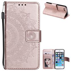 Intricate Embossing Datura Leather Wallet Case for iPhone 5c - Rose Gold