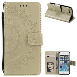 Intricate Embossing Datura Leather Wallet Case for iPhone 5c - Golden