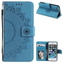 Intricate Embossing Datura Leather Wallet Case for iPhone 5c - Blue