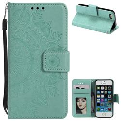 Intricate Embossing Datura Leather Wallet Case for iPhone 5c - Mint Green