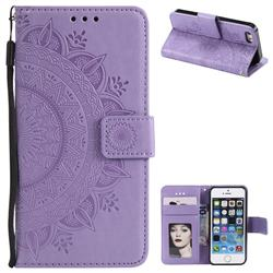 Intricate Embossing Datura Leather Wallet Case for iPhone 5c - Purple
