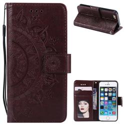 Intricate Embossing Datura Leather Wallet Case for iPhone 5c - Brown