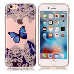 Blue Butterfly Flower Super Clear Soft TPU Back Cover for iPhone 6s 6 6G(4.7 inch)