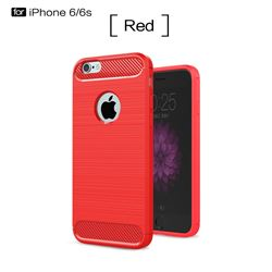 Luxury Carbon Fiber Brushed Wire Drawing Silicone TPU Back Cover for iPhone 6s 6 6G(4.7 inch) (Red)