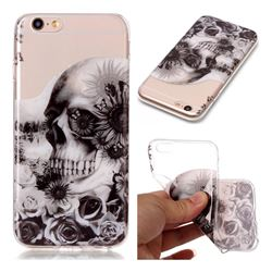 Black Flower Skull Super Clear Soft TPU Back Cover for iPhone 6s 6 6G(4.7 inch)