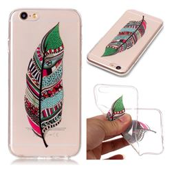 Green Feathers Super Clear Soft TPU Back Cover for iPhone 6s 6 6G(4.7 inch)