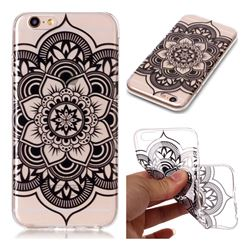 Black Mandala Flower Super Clear Soft TPU Back Cover for iPhone 6s 6 6G(4.7 inch)