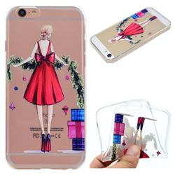 Christmas Girl Super Clear Soft TPU Back Cover for iPhone 6s 6 6G(4.7 inch)