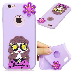 Violet Girl Soft 3D Silicone Case for iPhone 6s 6 6G(4.7 inch)