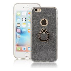 Luxury Soft TPU Glitter Back Ring Cover with 360 Rotate Finger Holder Buckle for iPhone 6s 6 6G(4.7 inch) - Black