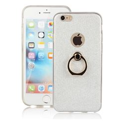 Luxury Soft TPU Glitter Back Ring Cover with 360 Rotate Finger Holder Buckle for iPhone 6s 6 6G(4.7 inch) - White