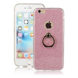 Luxury Soft TPU Glitter Back Ring Cover with 360 Rotate Finger Holder Buckle for iPhone 6s 6 6G(4.7 inch) - Pink