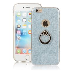 Luxury Soft TPU Glitter Back Ring Cover with 360 Rotate Finger Holder Buckle for iPhone 6s 6 6G(4.7 inch) - Blue