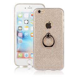 Luxury Soft TPU Glitter Back Ring Cover with 360 Rotate Finger Holder Buckle for iPhone 6s 6 6G(4.7 inch) - Golden
