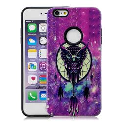 Starry Campanula Owl Pattern 2 in 1 PC + TPU Glossy Embossed Back Cover for iPhone 6s 6 6G(4.7 inch)