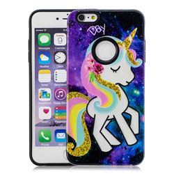 Rainbow Horse Pattern 2 in 1 PC + TPU Glossy Embossed Back Cover for iPhone 6s 6 6G(4.7 inch)