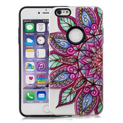 Mandara Flower Pattern 2 in 1 PC + TPU Glossy Embossed Back Cover for iPhone 6s 6 6G(4.7 inch)