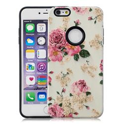 Rose Flower Pattern 2 in 1 PC + TPU Glossy Embossed Back Cover for iPhone 6s 6 6G(4.7 inch)