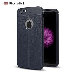 Luxury Auto Focus Litchi Texture Silicone TPU Back Cover for iPhone 6s 6 6G(4.7 inch) - Dark Blue