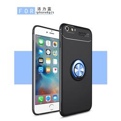 Auto Focus Invisible Ring Holder Soft Phone Case for iPhone 6s 6 6G(4.7 inch) - Black Blue