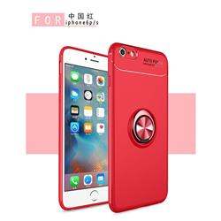 Auto Focus Invisible Ring Holder Soft Phone Case for iPhone 6s 6 6G(4.7 inch) - Red