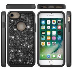 Glitter Rhinestone Bling Shock Absorbing Hybrid Defender Rugged Phone Case Cover for iPhone 6s 6 6G(4.7 inch) - Black