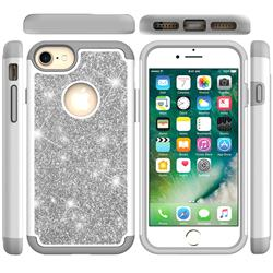 Glitter Rhinestone Bling Shock Absorbing Hybrid Defender Rugged Phone Case Cover for iPhone 6s 6 6G(4.7 inch) - Gray