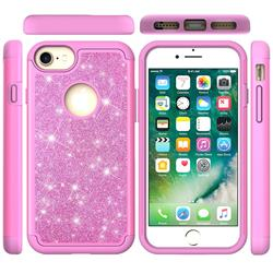 Glitter Rhinestone Bling Shock Absorbing Hybrid Defender Rugged Phone Case Cover for iPhone 6s 6 6G(4.7 inch) - Pink