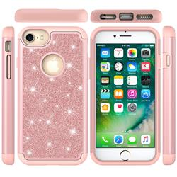 Glitter Rhinestone Bling Shock Absorbing Hybrid Defender Rugged Phone Case Cover for iPhone 6s 6 6G(4.7 inch) - Rose Gold