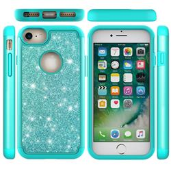 Glitter Rhinestone Bling Shock Absorbing Hybrid Defender Rugged Phone Case Cover for iPhone 6s 6 6G(4.7 inch) - Green