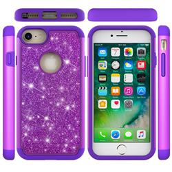Glitter Rhinestone Bling Shock Absorbing Hybrid Defender Rugged Phone Case Cover for iPhone 6s 6 6G(4.7 inch) - Purple
