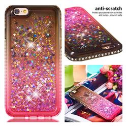 Diamond Frame Liquid Glitter Quicksand Sequins Phone Case for iPhone 6s 6 6G(4.7 inch) - Gray Pink