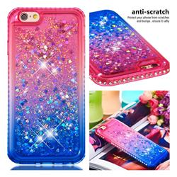 Diamond Frame Liquid Glitter Quicksand Sequins Phone Case for iPhone 6s 6 6G(4.7 inch) - Pink Blue