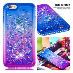 Diamond Frame Liquid Glitter Quicksand Sequins Phone Case for iPhone 6s 6 6G(4.7 inch) - Blue Purple