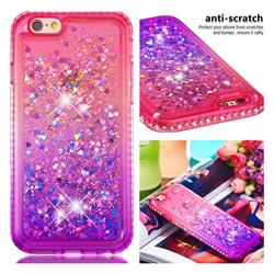 Diamond Frame Liquid Glitter Quicksand Sequins Phone Case for iPhone 6s 6 6G(4.7 inch) - Pink Purple