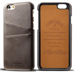 Suteni Retro Classic Card Slots Calf Leather Coated Back Cover for iPhone 6s 6 6G(4.7 inch) - Gray