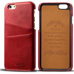 Suteni Retro Classic Card Slots Calf Leather Coated Back Cover for iPhone 6s 6 6G(4.7 inch) - Red