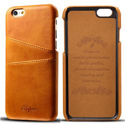 Suteni Retro Classic Card Slots Calf Leather Coated Back Cover for iPhone 6s 6 6G(4.7 inch) - Khaki