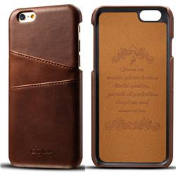 Suteni Retro Classic Card Slots Calf Leather Coated Back Cover for iPhone 6s 6 6G(4.7 inch) - Brown