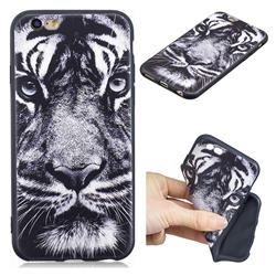 White Tiger 3D Embossed Relief Black TPU Cell Phone Back Cover for iPhone 6s 6 6G(4.7 inch)