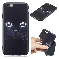 Bearded Feline 3D Embossed Relief Black TPU Cell Phone Back Cover for iPhone 6s 6 6G(4.7 inch)