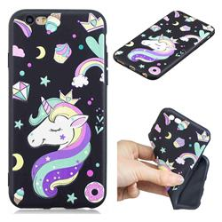 Candy Unicorn 3D Embossed Relief Black TPU Cell Phone Back Cover for iPhone 6s 6 6G(4.7 inch)