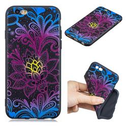 Colorful Lace 3D Embossed Relief Black TPU Cell Phone Back Cover for iPhone 6s 6 6G(4.7 inch)