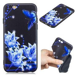 Blue Butterfly 3D Embossed Relief Black TPU Cell Phone Back Cover for iPhone 6s 6 6G(4.7 inch)