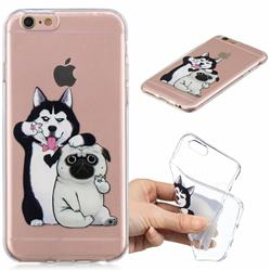 Selfie Dog Clear Varnish Soft Phone Back Cover for iPhone 6s 6 6G(4.7 inch)