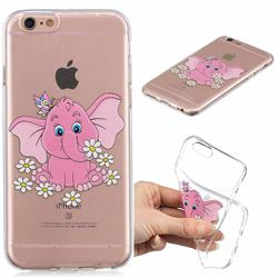 Tiny Pink Elephant Clear Varnish Soft Phone Back Cover for iPhone 6s 6 6G(4.7 inch)