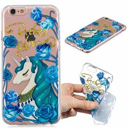 Blue Flower Unicorn Clear Varnish Soft Phone Back Cover for iPhone 6s 6 6G(4.7 inch)