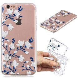 Magnolia Flower Clear Varnish Soft Phone Back Cover for iPhone 6s 6 6G(4.7 inch)