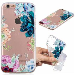 Gem Flower Clear Varnish Soft Phone Back Cover for iPhone 6s 6 6G(4.7 inch)
