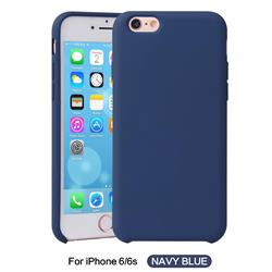 Howmak Slim Liquid Silicone Rubber Shockproof Phone Case Cover for iPhone 6s 6 6G(4.7 inch) - Midnight Blue